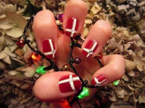Christmas Present Inspired Nail Art Tutorial Youtube