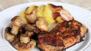 Стейки, шампиньоны и картошка с беконом на мангале | Открываем дачный сезон
