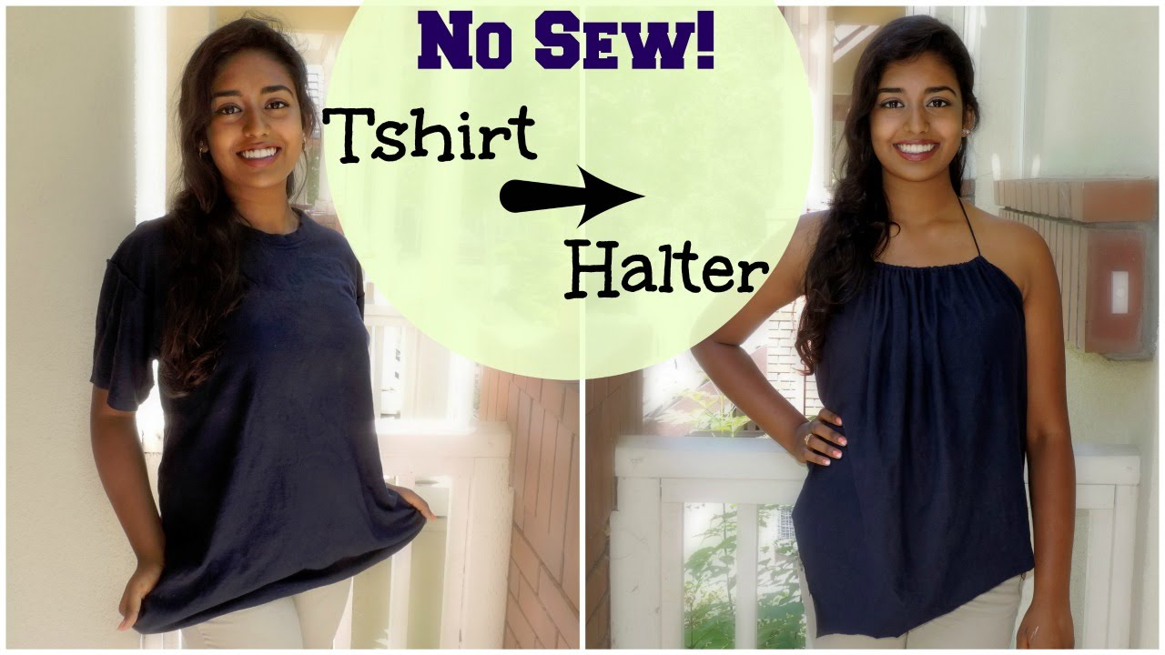 No Sew Halter Top Tutorial Diy T Shirt Reconstruction You