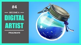 Drawing Fortnite Shield Potion Recipe with Procreate IPAD. Become a Digital Artist Video #4