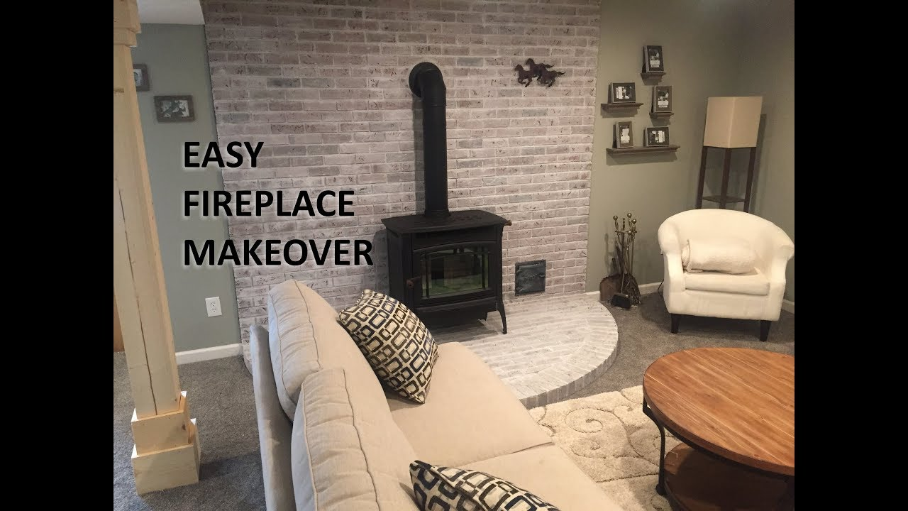 fireplace makeover diy whitewash your fire place youtube