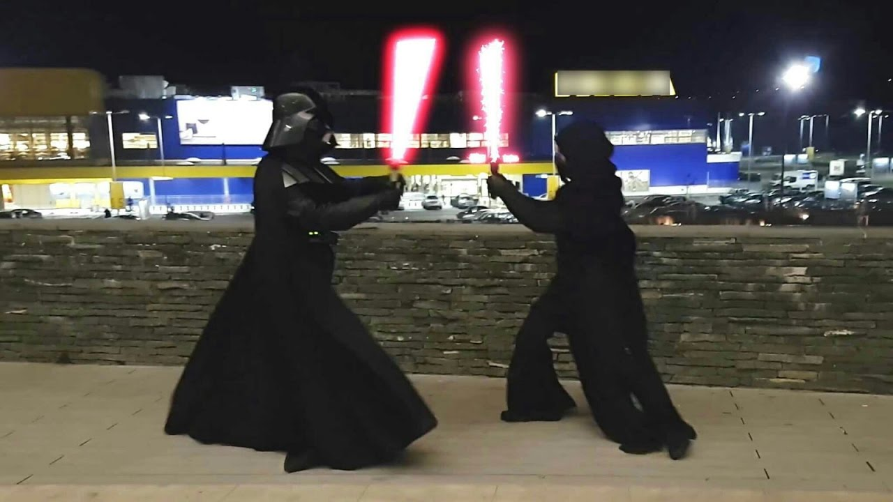 Darth Vader Vs Kylo Ren Lightsaber Battle Youtube