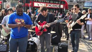 Live music played at Oxford Circus in central London.
