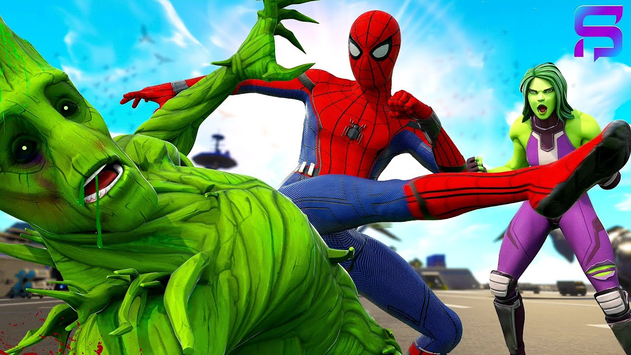 HULK GROOT VS SPIDER-MAN - FIGHT for SHE-HULK'S LOVE.... ( Fortnite Film )