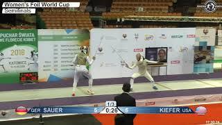 2018 127 F F Individual Katowice POL WC Semifinal 02 podium SAUER GER vs KIEFER USA