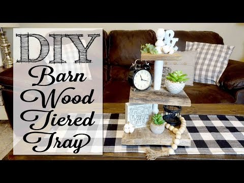 DIY Barn Wood Tiered Tray | Collab with The DIY Mommy