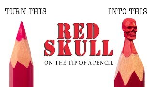 I carve Red Skull from a pencil