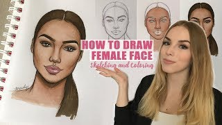HOW TO DRAW FEMALE FACE: Sketching and Coloring