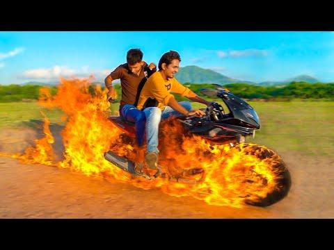 Download चलती गाड़ी में लगा दी आग - Ghost Rider Bike 100% Real