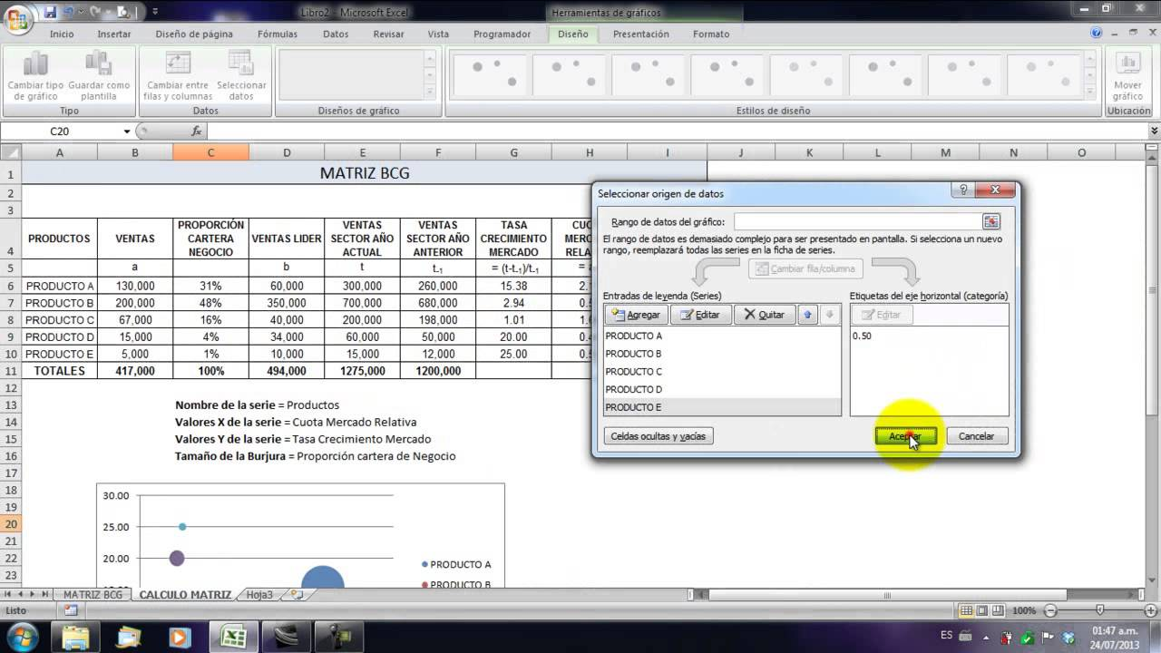 Matriz Bcg Excel Youtube