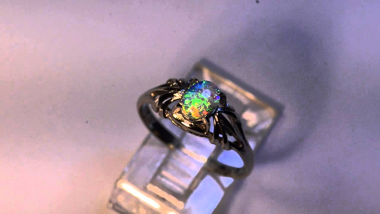 solid black opal solid white gold engagement ring m12026 youtube - Black Opal Wedding Rings
