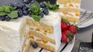 Бисквитный Торт СЕКРЕТ пышного бисквита Пышный бисквит ни когда не опадает Торт с ягодами