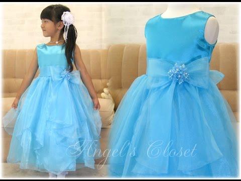 子供ドレス オーガンジーリボンコサージュドレス(PK9040)
