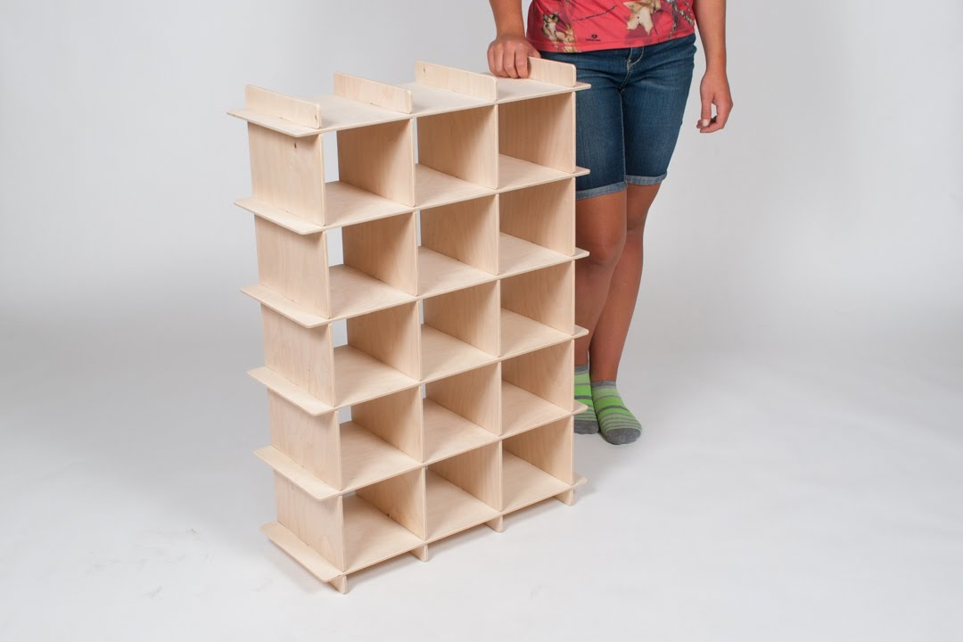 15 Cubby Baltic Birch Shoe Organizer Embly