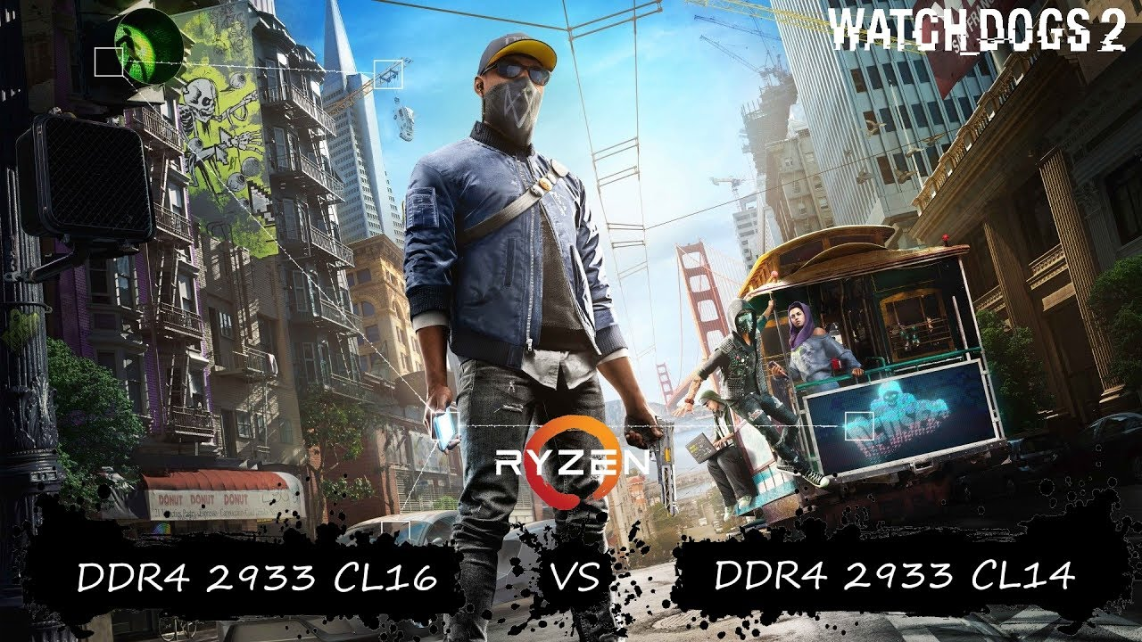 DDR4 2933Mhz CL16 vs CL14 | Watch Dogs 2