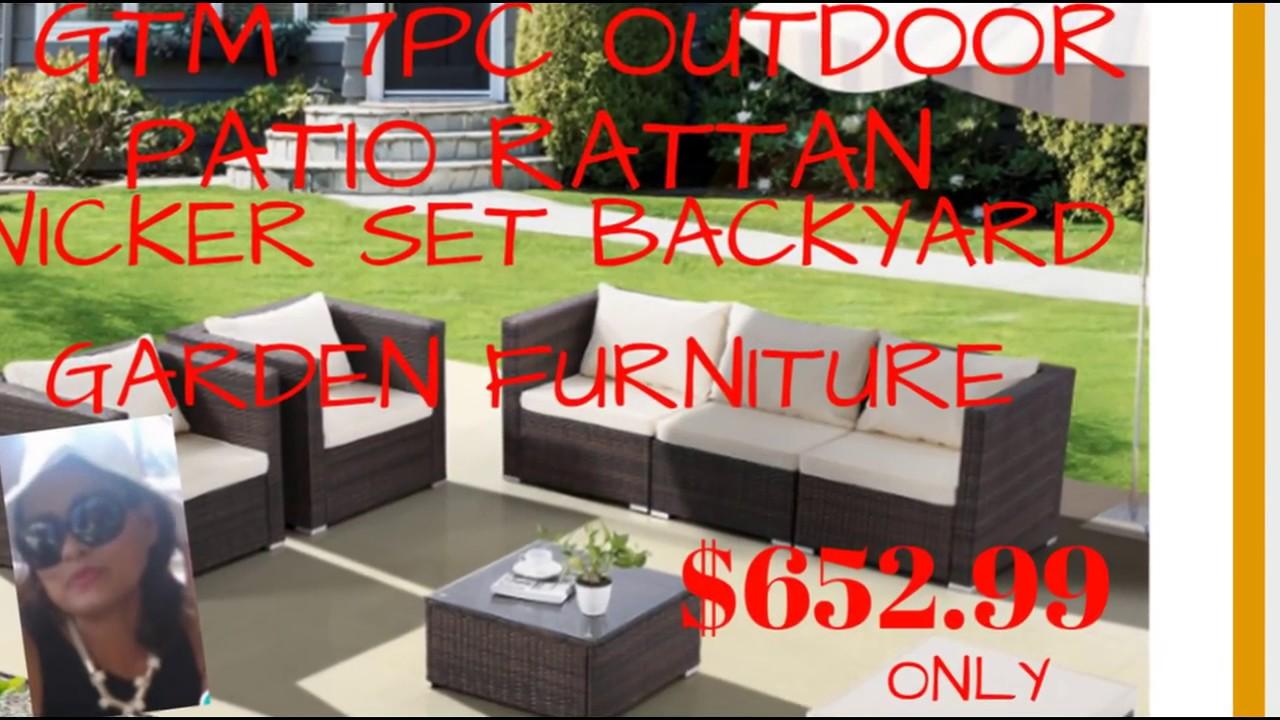 gtm 7 pc outdoor patio rattan wicker set backyard garden furniture