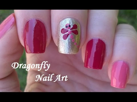 Dragonfly Nail Art Design Pretty Pink Gold Nails Tutorial Summertime