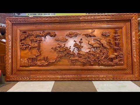 """Tranh phong thủy gỗ hương đục tay thủ công cực chất. """"Cửu hạc du Xuân """" dài217cm x 107cm x 6cm."""