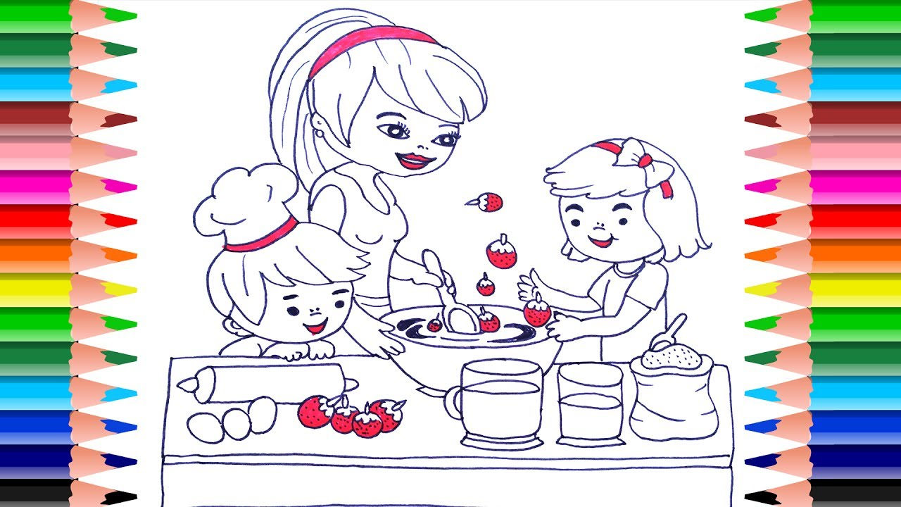 - Mother And Children Cooking In The Kitchen Coloring Book Pages