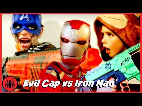 Evil Captain America vs Iron Man Nerf War w Monkey King comic in real life SuperHero Kids