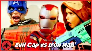 Funny Captain America vs Iron Man Nerf War w Monkey King comic in real life SuperHero Kids