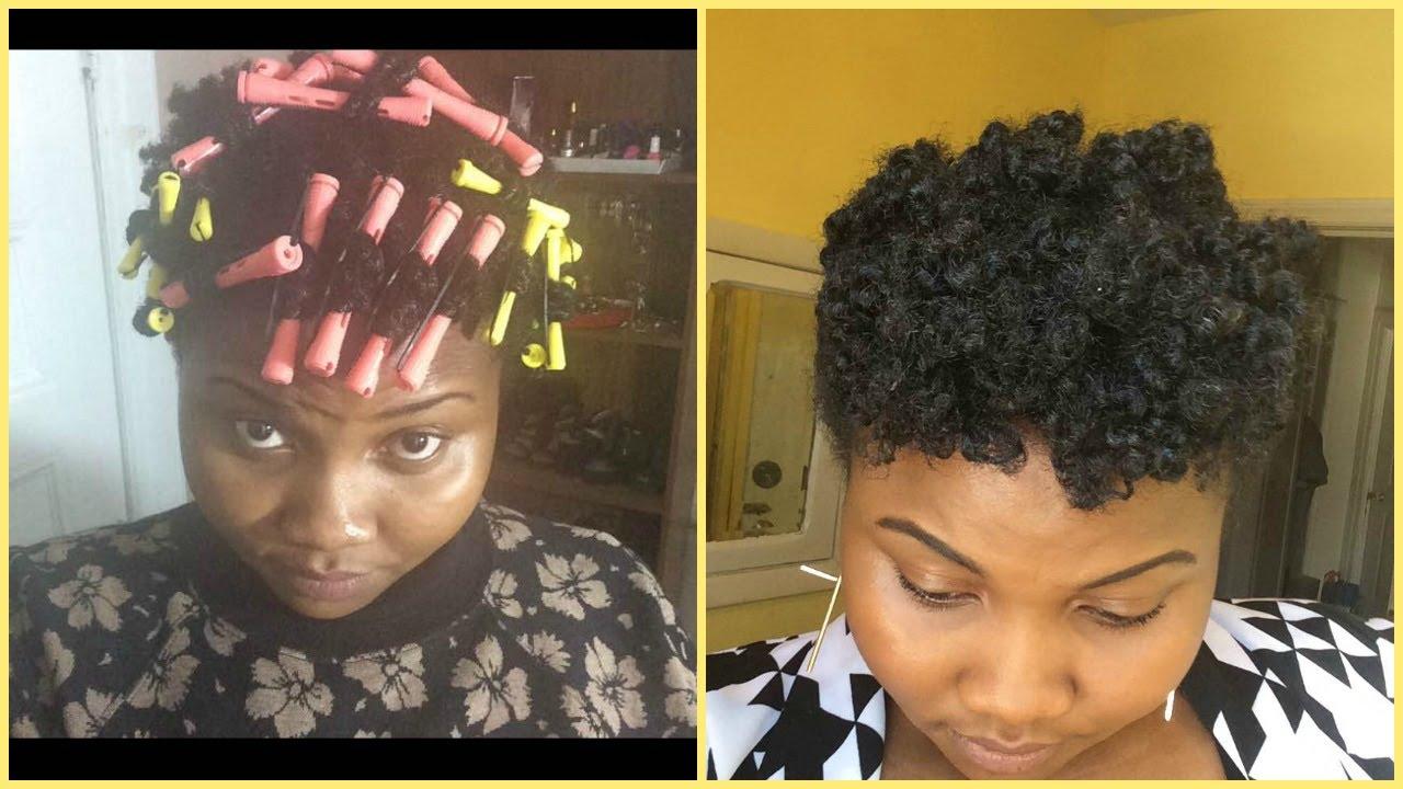 perm rod set using twist method | tight curls/short natural hair