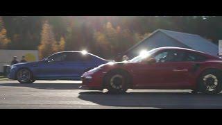 Porsche 911 GT3 RS PDK vs BMW M5 F10 ESS ECU, Supersprint downpipes and Acrapovic Evolution exhaust