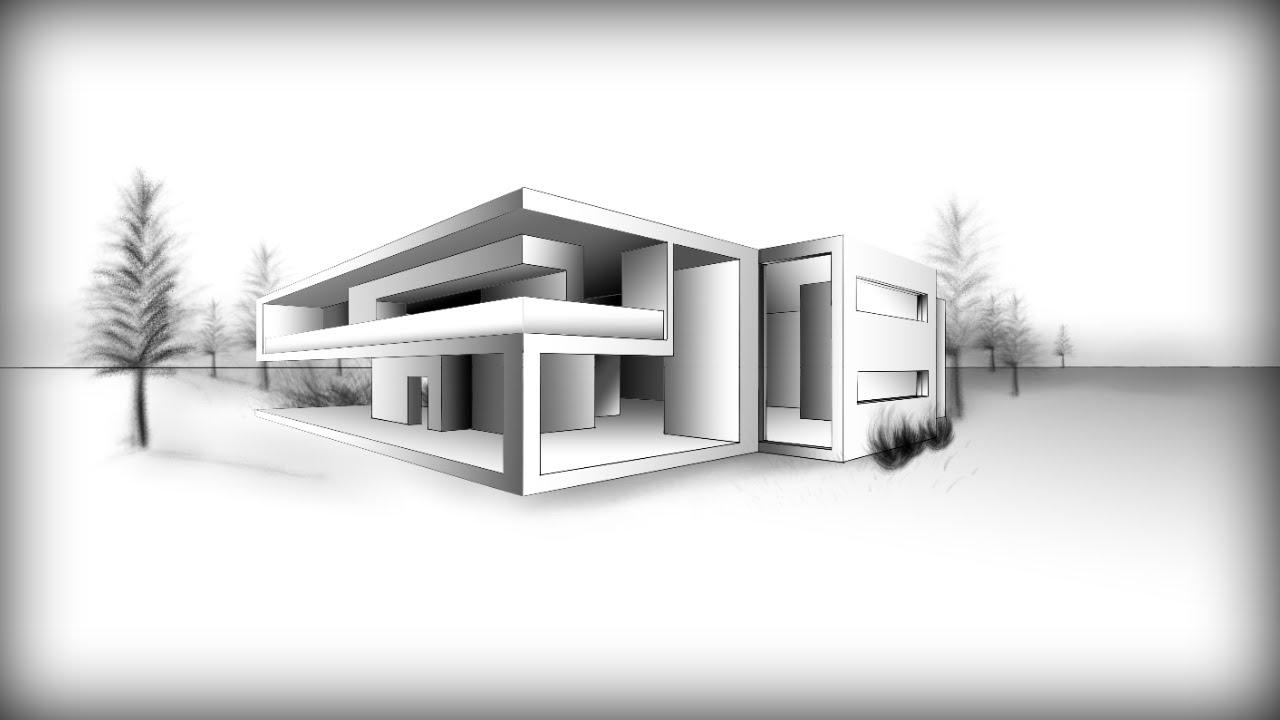 Architecture design 8 drawing a modern house youtube for Architecture modern house design 2 point perspective view