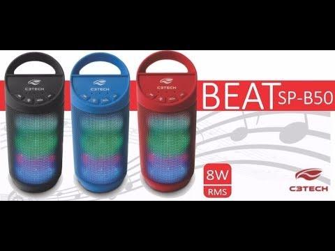 Caixa de Som C3 Tech BEAT Bluetooth LED Portátil 8W RMS - Português BR