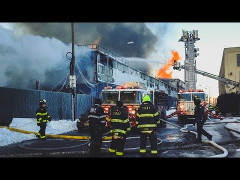 FDNY Battles 7 Alarm Warehouse Fire for Over 24 Hours in Williamsburg, Brooklyn