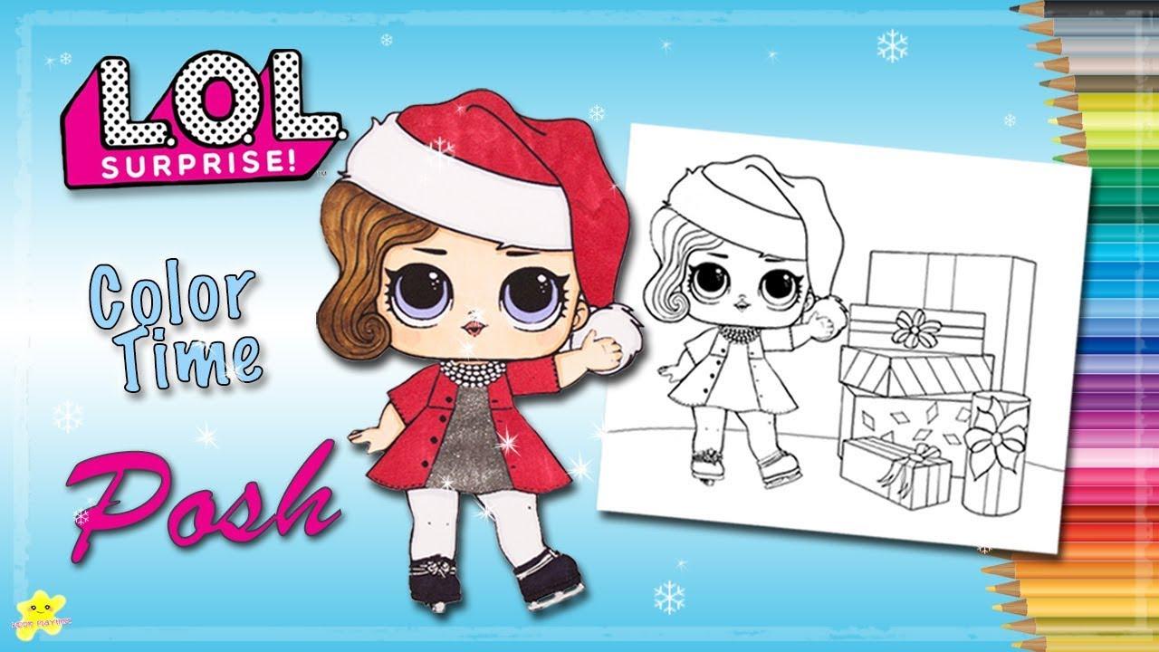 christmas edition lol surprise posh coloring page | kiddie