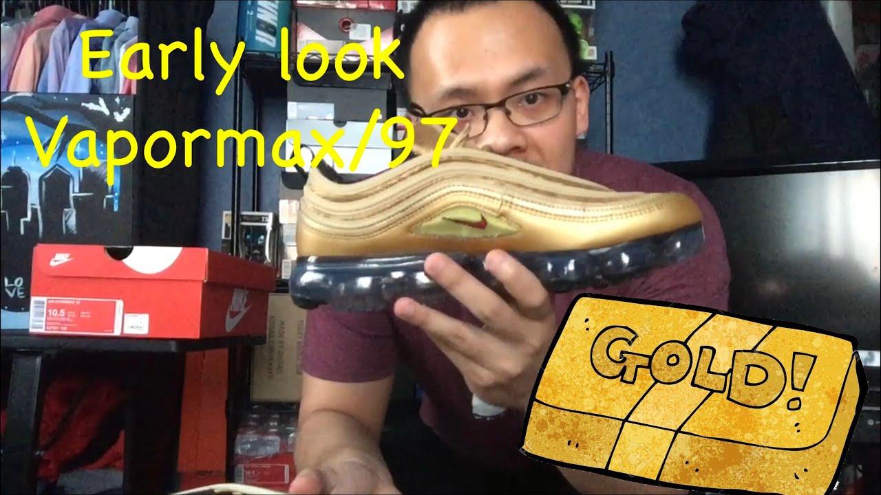 bbc5f91ff7c Nike Air Vapormax 97 Metallic Gold review  on feet - YouTube