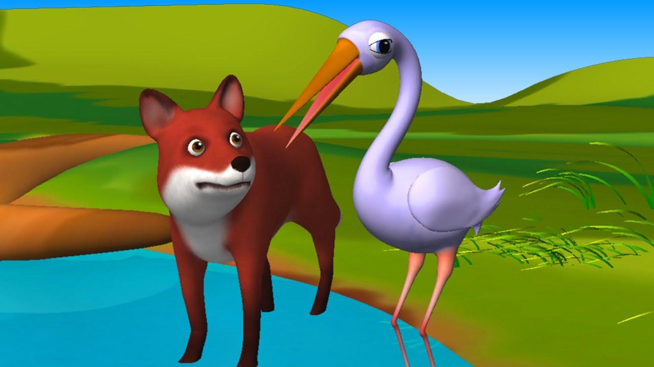 Hindi Stories  The Fox and Crane  (लोमड़ी और सारस )Hindi Fairy Tales