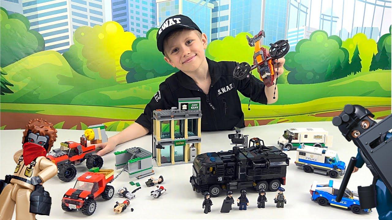Полиция Лего Сити и СПЕЦНАЗ против грабителей LEGO Банка - Даник и Lego City. 13+