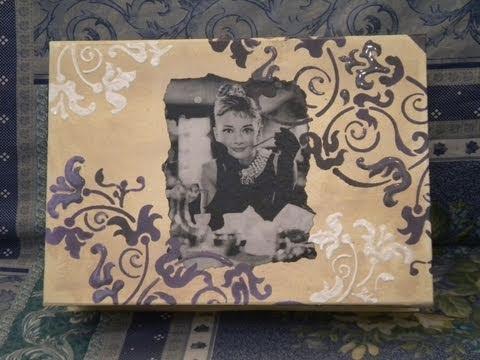 Tutorial decoupage su scatola in avana con stencil sfumato youtube - Decoupage su mobili in legno ...