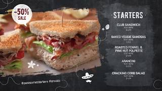 Шаблон Промо ресторана и цифровое меню digital signage РАДОДАР  radodar