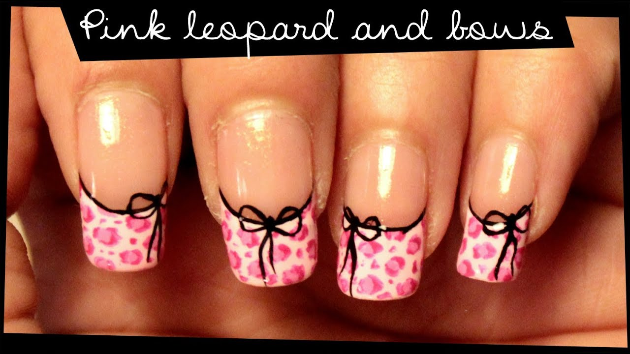 Pink Leopard & Bows nail art - YouTube