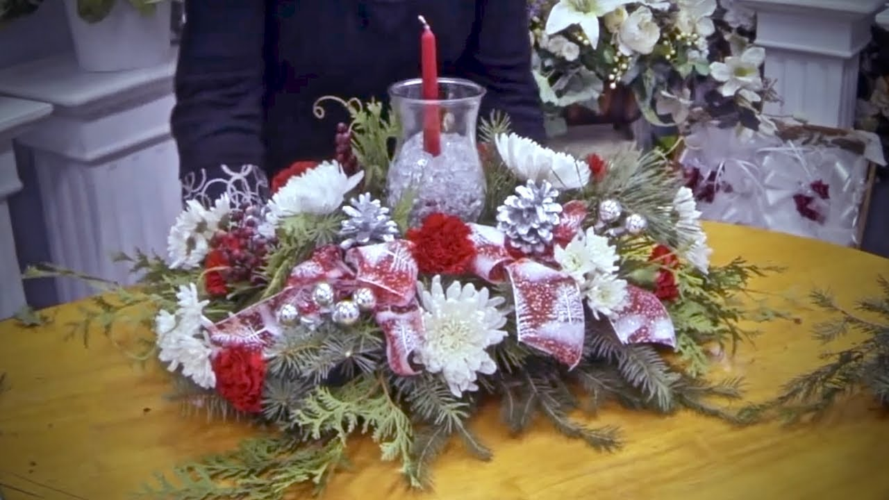 How To Make A Christmas Table Arrangement With Candle And Ice   YouTube