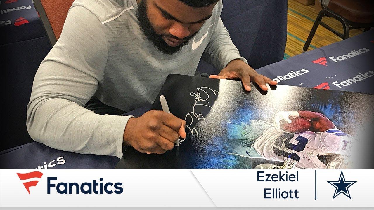 new arrivals 7de7f 43082 Watch Ezekiel Elliott Sign Memorabilia for Fanatics - Dallas Cowboys  All-Pro RB