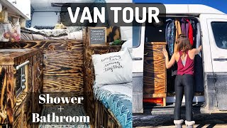VAN TOUR Luxury oฑ a Low Budget | Self Converted Rust Bucket | Full Shower, Kitchen & Bathroom