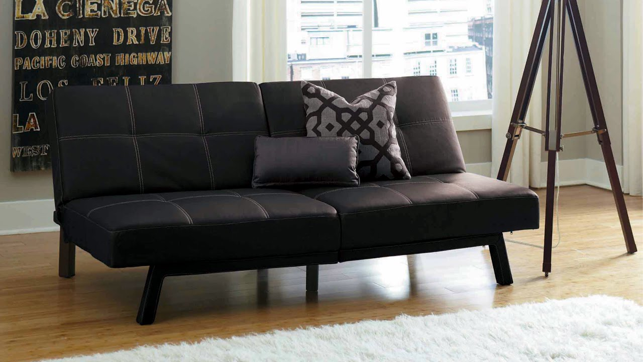delaney futon sofa bed 3 piece living room set small indian interior designs split back youtube