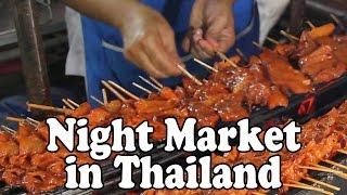 Nakhon Si Thammarat Night Market. Street Food and Shopping at a Thai Market