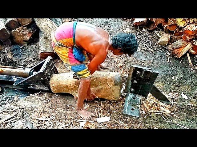 Amazing Homemade Log Splitter-Wood Processing Machine