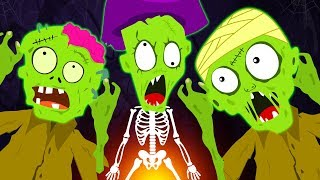Five Funny Zombies Jumping On The Grave | Zombie Family - Funny Halloween Songs For Children