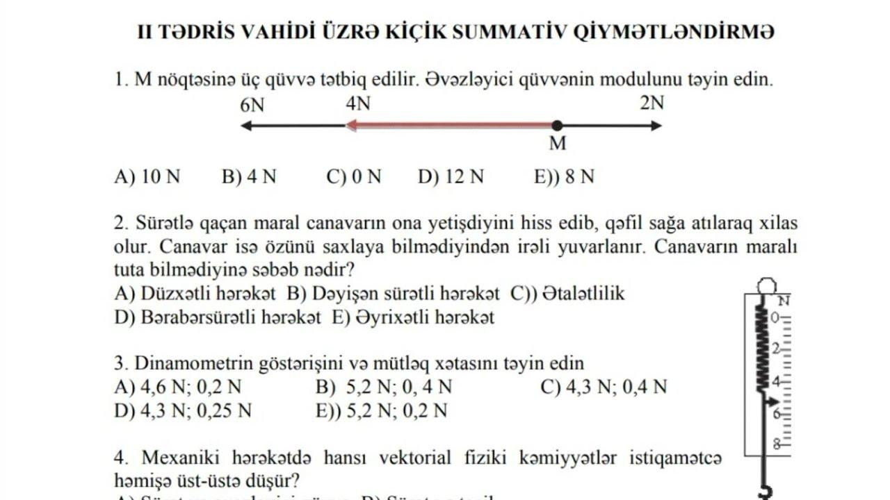 7Cİ SİNİF FİZİKA  KSQ 2 (CAVABLARLA)