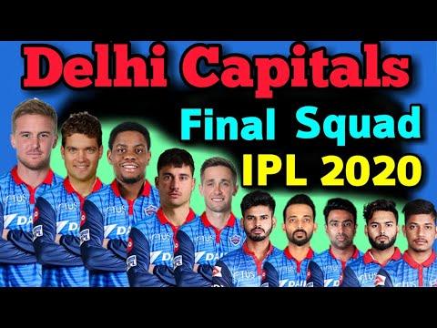 Vivo Ipl 2020 Delhi Capitals Full Final Squad Delhi Capitals Final Players List 2020 Dc Team Youtube