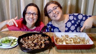 Baked Cauliflower, Sizzling Pork And Cucumber With Sour Cream Dip | Gay Family Mukbang (먹방)