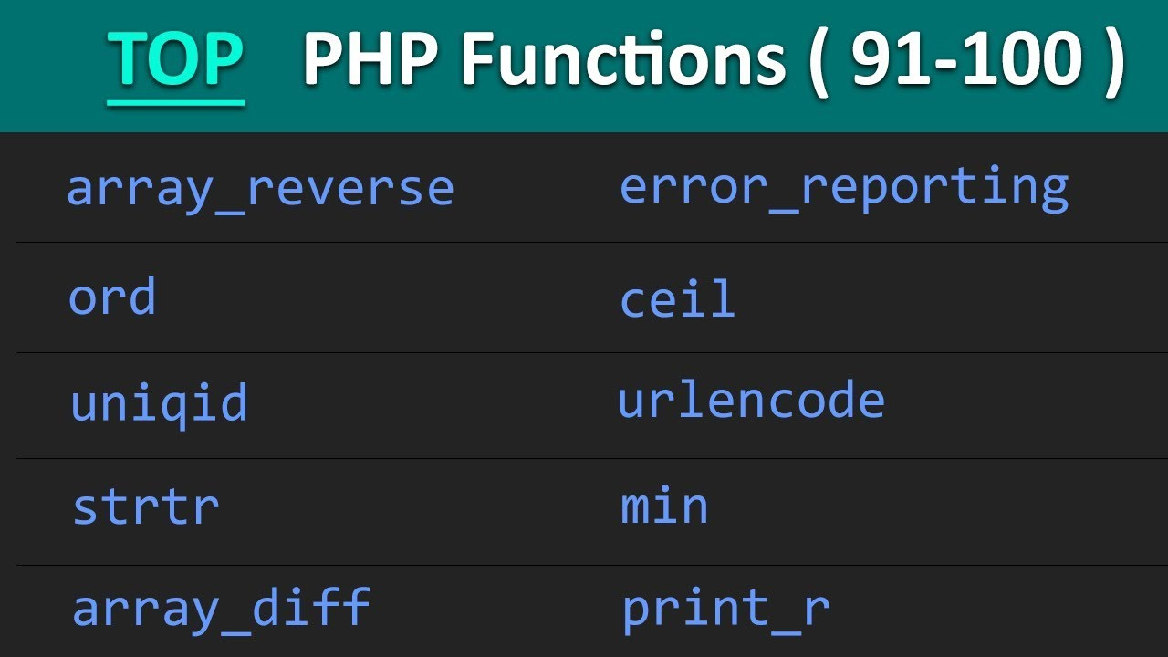 TOP 100 PHP Functions ( 91 - 100 ) | Learn PHP