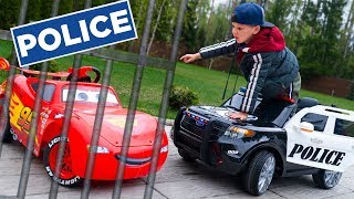 Artem and Lightning McQueen Play with New Toy Power Wheel Police Car - Review Ride On Car