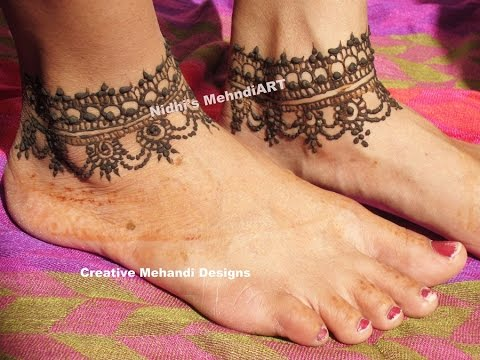 Simple Anklet Feet Ornament Henna Mehndi Design Tattoo Tutorial Step